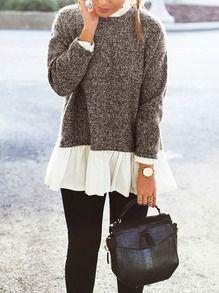 Jersey manga larga color combinado -marrón blanco