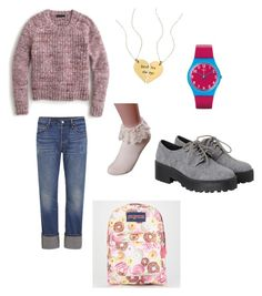 """Sweet tooth"" by tomboyfeminist on Polyvore featuring J.Crew, Levi's, Monki, Nashelle, JanSport and Swatch"