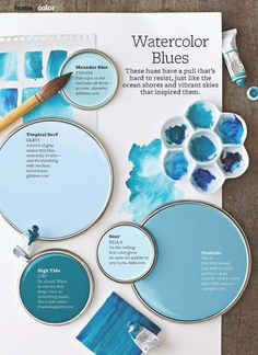 Coastal paint color schemes inspired from the beach Best Blue Paint Colors, Coastal Paint Colors, Paint Colors For Home, House Colors, Color Blue, Wall Colors, Beach Color Palettes, House Paint Interior, Touch Of Gray