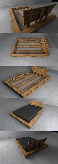 62 Creative Recycled Pallet Beds You'll Never Want To Leave!, 62 Creative Recycled Pallet Beds You'll Never Want To Leave! 62 Creative Recycled Pallet Beds in Which You& Never Want to Wake up DIY Pallet Bed. Pallet Bedframe, Diy Pallet Bed, Diy Pallet Furniture, Pallet Headboards, Garden Furniture, Furniture Ideas, Furniture Design, Pallet House, Wooden Bed Frame Diy