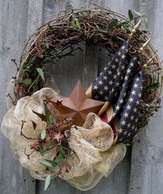 Americana Independence Day Wreath with Tea Stained Flags by NewEnglandWreath