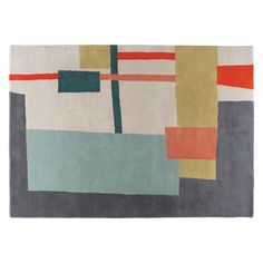 With its beautiful, hand-tufted abstract design, the fabulous Quentin large multi-coloured patterned wool rug is a luxurious statement piece.[br]Designed by our in house design team, the rug is exclusive to Habitat. Large Rugs, Small Rugs, Lounge Rug, Dry Brush Technique, Rug Texture, Colour Schemes, Soft Furnishings, Wool Rug, Habitats