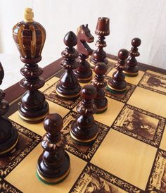 Eastern European Carved Wooden Chess Set with Images of Saints $45