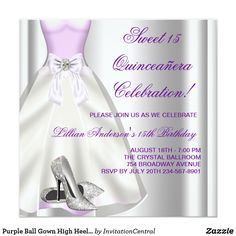 Purple Ball Gown High Heel Shoes Quinceanera Card Elegant lavender purple ball gown and silver glitter high heel shoes Quinceanera sweet 15 birthday party invitation. This beautiful lavender purple birthday party invitation is easily customized for your event by adding your event details, font style, font size & color, and wording. Please note - all of the card and invitation designs you will find on Zazzle are printed graphics with no actual jewels, bows, raised, embossed, or added parts or…
