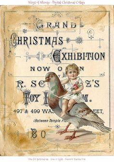Wings of Whimsy: Vintage Digital Christmas Collage #vintage #ephemera #freebie…
