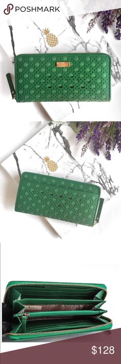 Kate Spade Newbury Lane Caining Neda Wallet NWT $228 in beautiful Sprout Green Color. Just in time for Spring!! kate spade Bags Wallets
