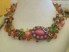 """Garbage"" necklace in pinks by Angela Resendiz"