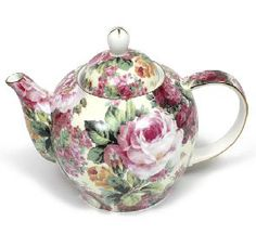 Rambling Rose Bone China teapot