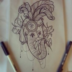 Elephant Head Sketch | by somasekhar February 21, 2013 In Life of Tattoos With No Comments