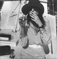 Bob Richardson photography, striped jumpsuit, hat, white belt, boat. French Vogue, April 1967
