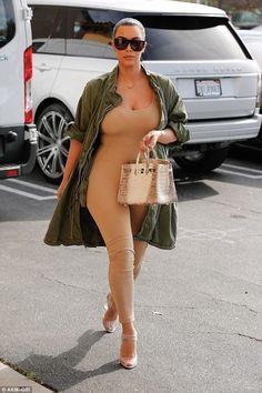 Kim Kardashian wearing Hermes Himalayan Birkin Bag and Yves Saint Laurent Sl 1/S 59/13/140 Sunglasses
