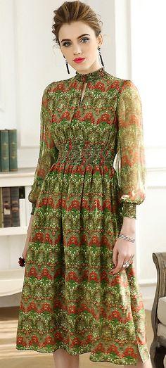 Stylish Stand Collar Puff Sleeve Elastic Waist Big Hem Print Skater Dress