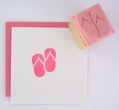 MINI Flip Flops Hand Carved Rubber Stamp. $3.50, via Etsy.