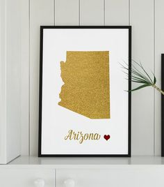 Gold Arizona map printable arizona art printable by alldigitall