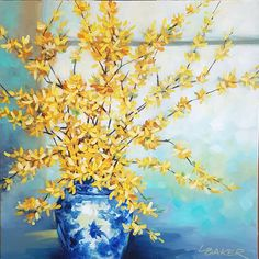 Nothing signals the beginning of spring like forsythia. Lovely shades of yellow forsythia in a blue and white vase. Renewal and rebirth. Blue And White Vase, White Vases, Paintings I Love, Small Paintings, Beginning Of Spring, Large Artwork, Shades Of Yellow, Impressionism, Buy Art