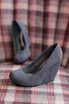 Grey suede wedges ...So cute! :) Being extremely short and clumsy, I love wedges. Added height without the risk of tumbling! ;)