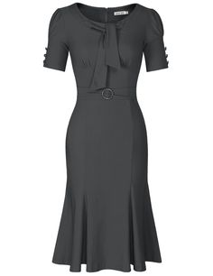 BeautyCreator Womens Formal or Casual Party Pencil Dress (XS, Grey) Casual Work Dresses, Casual Wear, Cute Dresses, Vintage Dresses, Dresses For Work, Office Dresses, Women's Casual, Fishtail Dress, Short Sleeve Dresses