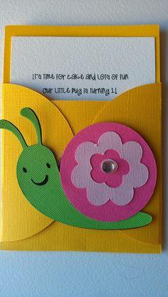 Bug, Garden party theme pocket invitation.