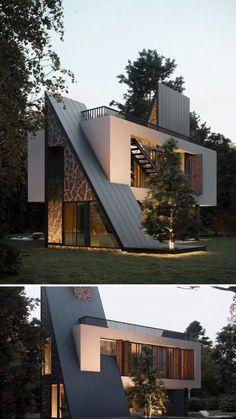 Modern Exterior House Designs, Modern Villa Design, Modern Architecture House, Interior Architecture, Modern House Facades, Sustainable Architecture, Residential Architecture, Amazing Architecture, Container House Design