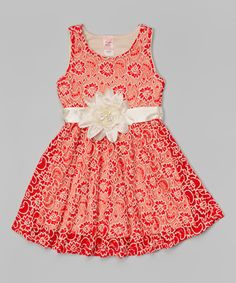 Red Floral Overlay Dress - Girls on #zulily *so cute