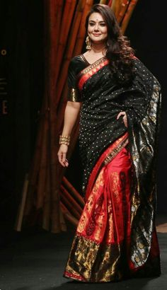 Preity Zinta looking fabulous in Mekhela Chador by Designer Sanjukta Dutta at Lakme Fashion Week. Indian Beauty Saree, Indian Sarees, Indian Dresses, Indian Outfits, Pakistani Outfits, Indian Clothes, Beautiful Saree, Beautiful Dresses, Beautiful Wife