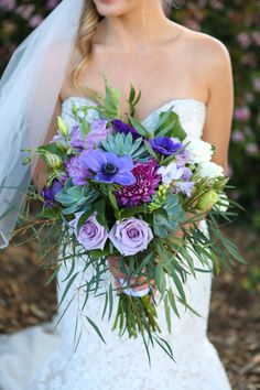 I am obsessed with this purple, greenery and succulent bouquet Purple Succulents, Succulent Bouquet, Flowers For You, Wedding Flowers, Wedding Dresses, San Diego Wedding, Floral Crown, Timeless Design, Unique Weddings