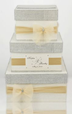 two layer box, spray paint gold lace, champagne ribbon, bling, name plate