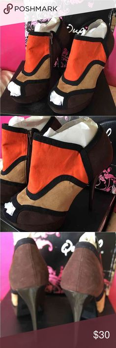 Qupid Sueded Heel Brand Qupid. Orange/Brown/Camel suede pu. Glossy brown heel. Says 8-1/2. Too snug for my 8-1/2. If you're an 8-1/2 do not buy unless narrow foot. Should be good for 7-8. Shoes Heels