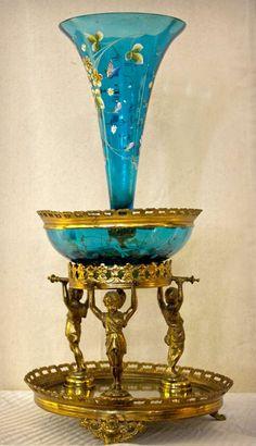 Victorian Brass Figural Mirrored Epergne with Bohemian Glass Inserts Boho Decor, Art Decor, Brides Basket, Antique Lamps, Fenton Glass, Carnival Glass, Bronze, Victorian Era, Colorful Interiors