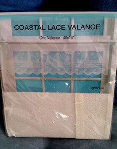 """Coastal Ivory Lace Valance 40"""" x 14"""" Nautical LIGHTHOUSE SAILBOAT Lacy Design #Nantucket #Nautical"""