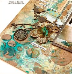 Video tutorial - how I create a mixed-media layout (in fast mode). I used gesso, mists, stencils, paints and etc. Author Daria Pneva. http://daria-pn.blogspo...
