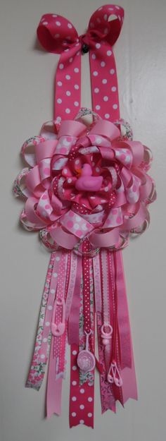 baby girl pink rubber ducky birth door hanger wall decor ribbon bow handmade by