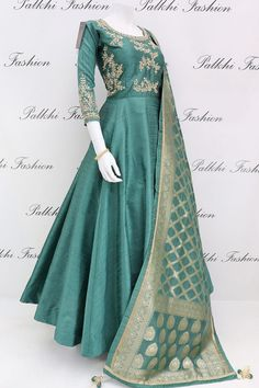 Teal Green Raw Silk Outfit with Gorgeous Dupatta From Palkhi Fashion Source by dresses indian Indian Fashion Dresses, Indian Gowns Dresses, Dress Indian Style, Pakistani Bridal Dresses, Pakistani Dress Design, Indian Designer Outfits, Indian Outfits, Bridal Lehenga, Designer Anarkali Dresses