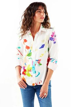 Wild Floral Alex Blouse – Ginger Howard Selections Shirts, Tees, Floral Prints, Tunic Tops, Body Types, Long Sleeve, Barrel, Florals, Sleeves