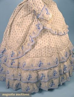 PRINTED VOILE SUMMER DRESS, 1860s 3-piece, white w/ tiny blue flowers, trimmed w/ morning glory printed voile bands