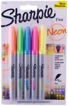 Sharpie Neon Permanent Markers Fine Tip Fluorescent Under Black Light 5pk
