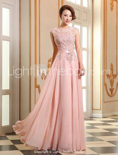 A-line Jewel Floor-length Georgette Evening Dress