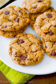 5 Ingredient Flourless Almond Butter Chocolate Chip Cookies