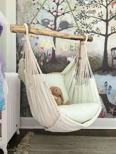 This hammock chair and woodland wall mural wallpaper are wonderful design ideas for a baby nursery, kid's room or playroom - Unique Nursery and Children's Room Decor - KindredVintage Co. Summer Tour Enchanted Forest Mural is from Anthropologie, room ideas Little Girl Rooms, Little Girls Playroom, Teenage Girl Room Decor, New Room, Child's Room, Room Set, Room Inspiration, Design Inspiration, Forest Mural