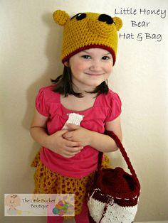 Ravelry: Little Honey Bear Hat & Bag pattern by Elizabeth Roggasch