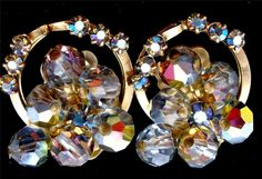 Hi End Aurora Borealis AB Crystal Bead Dangle Clip Earrings Vintage Wedding Prom | eBay