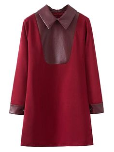 Red Long Sleeve Shift Dress With PU Splice Collar | abaday
