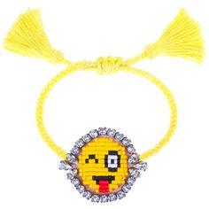 Shourouk Yellow 'Bling Blink Emoji' Bracelet ($150) ❤ liked on Polyvore featuring jewelry, bracelets, yellow, shourouk jewelry, swarovski crystal jewelry, yellow bangles, shourouk and yellow jewelry