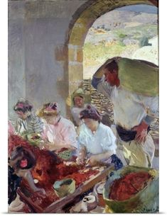 Joaquin (1863-1923) Sorolla y Bastida Poster Print Wall Art Print entitled Preparing the Dry Grapes, 1890, None