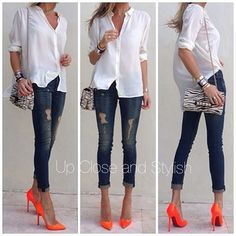 Have my new Orange Nine West heels to sport......i like this look!  wear pants like this (skinny and cuffed, not destroyed) even with flats and sandals