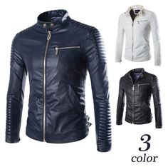 Mens Zip Up Biker Faux Leather Jacket