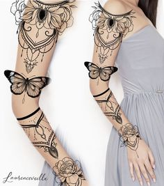 Women Flower Tattoo Sleeve Ideas Design Tattoo Design – Laurenceveillx Tattoo Style You are in the right place about Mandala Tattoo Sleeve, Forearm Sleeve Tattoos, Full Sleeve Tattoos, Sleeve Tattoos For Women, Tattoo Sleeve Designs, Flower Tattoo Designs, Tattoo Femeninos, Tattoo Style, Lace Tattoo
