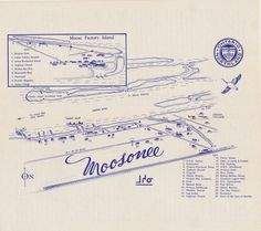Old map of Moosonee. Our office was in those days. from The Polar Bear Express. Sunday Excursions from Cochrane, Ontario to Arctic Tidewater, Moosonee. Polar Bear Express, Blacksmith Shop, Odd Stuff, Present Day, Arctic, Ontario, Vintage Photos, Moose, Target