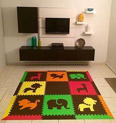 "Amazon.com - SoftTiles Safari Animals Foam Play Mat w/sloped borders (Black, Gray, White) Large Play Mat 78"" x 78"" #playroom"