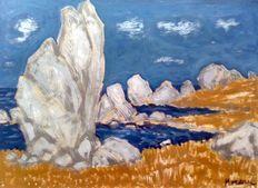 """Jacques Gaston Moreau 1903-1994 """" Rochers vers Douarnenez """""""